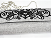 Stylish Embroidery Clutch Cloth Bag with Steel Chain