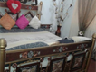 iron double bed dressing table and two side talbes