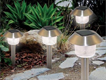 Garden solar lights with dawn to dusk switch and self charging batteries