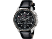 Men Round Analog Watch with Faux Leather Strap Black M.